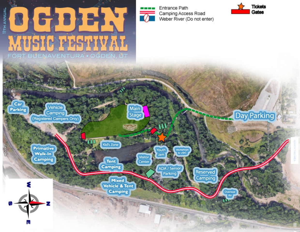 Ogden Music Festival Location and Camping Map